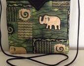 "Elephants Quilted Snap Bag Purse Handbag Handmade 8"" X 8"""