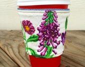 Delphinium Tulip Botanical Denim Coffee Cozy Reversible Gift for Her Purple Spring Flowers