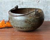 Metal Pot Industrial Vintage Distressed Metal Water Pot Farm Chic Vase Boho Urn