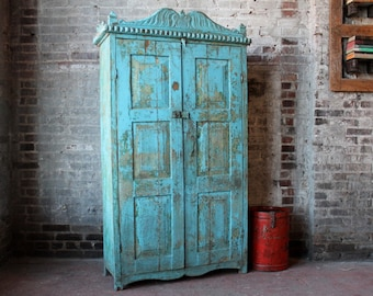 19th Century Indian Cabinet Hand Carved Detail Jodhpur Blue Entry Way Display Dining Room Storage Moroccan Decor Turkish Interior