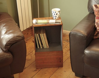 Floor Cabinet End/Side Table Made With Vintage Crate