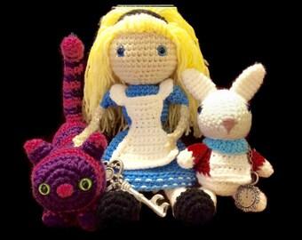 Alice in Wonderland Trio Doll Set, Alice, Cheshire Cat and White Rabbit