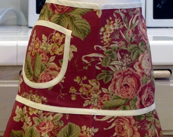 Heirloom Half Apron with Pocket: Elegant Maroon Roses with Cream Trim