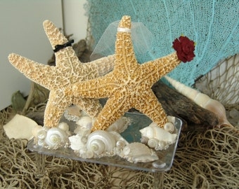 Coastal Wedding Decoration- Sugar Starfish Bride and Groom Alternative Cake Topper on clear base