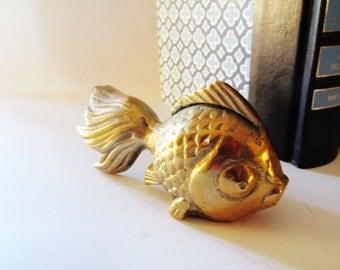 Vintage Brass Fish, Hollywood Regency Koi Fish Figurine, Palm Beach Decor, Brass Paperweight