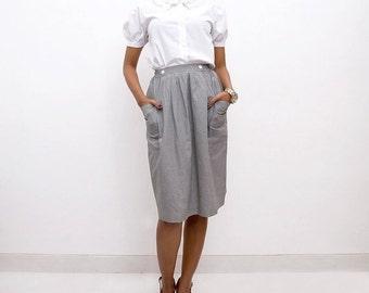 ON SALE Vintage 70s Skirt/70s Gingham Skirt/Black Gingham High Waisted A-line Skirt, Black and White Checkered, Small