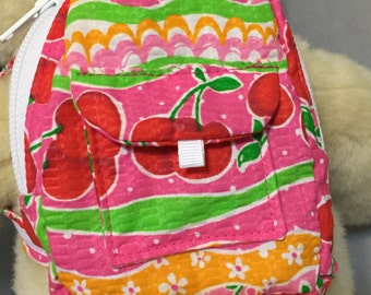 American Girl/Large Waldorf/Build A Bear Cherry Print Backpack/Giftcard Holder