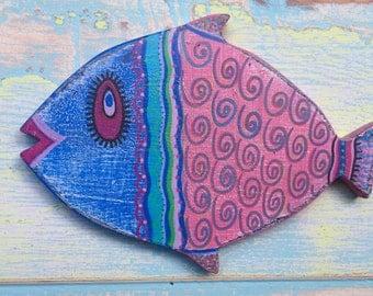 Fish Wall Art Painted Sign Beach House Decor Coastal Nautical Decor by CastawaysHall ONE Large Fish