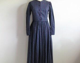 Country Chic Laura Ashley Dress 1980s Dark Purple Paisley Cotton-Wool 80s Designer Dress 8