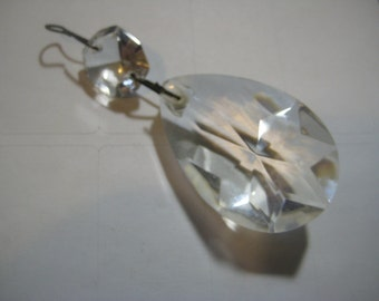 Antique  Faceted Glass Tear Drop 2 Inch Prism with Connector Prism