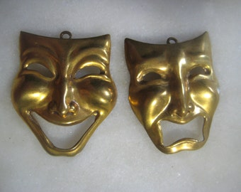 Vintage Tragedy Comedy Mask Drops Pendants;  Stamped  Brass Mask Pendants, Earring Drops, Jewelry Findings,  35mm x 30mm, 1 Pair.