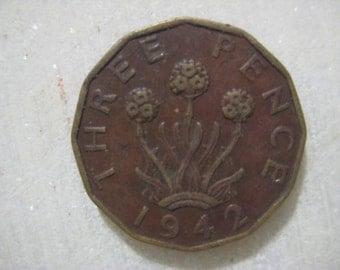 1942 United Kingdom, Three Pence Coin, Portrait of George VI, Three headed 'Thrift' Plant