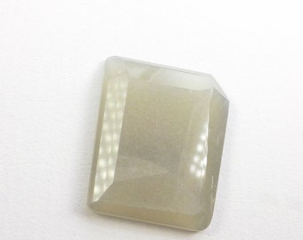 Moonstone Faceted Cabochon. Rare Color Natural Moonstone Geometric Cabochon. 1 pc. 14.03 cts. 18x23x 4mm (MS359)