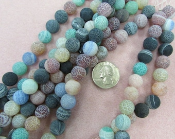 Matte Agate Rounds 12mm, Mixed Color