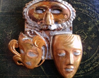 Mid Century MASKS Faces Pin Brooch COPPER Trio Modernist Jewelry 1950s 1960s Masked Ball Brooch