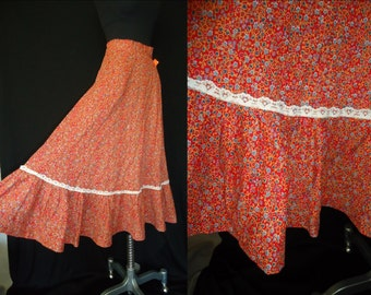 Red Calico Floral Vintage 1970's Women's BOHO Skirt XXS XS