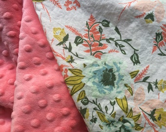 Baby Girl Blanket, Floral Blanket, Pink and Coral, Minky Blanket, Forest Floor Fabric, Crib Bedding Girl