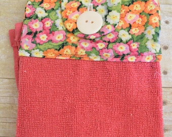 Set of Two Handmade Hanging Kitchen Towels, Flowers, Kitchen Towels, Hanging Towels, Bathroom Towels