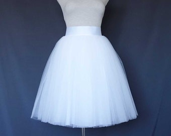 White Tulle Skirt . Tea length tulle skirt . Women tulle skirt.