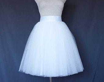 White Tulle Skirt . Tea length tulle skirt . Women tulle skirt.