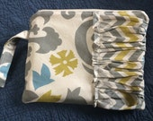 Zip Pouch Damask and Chevron