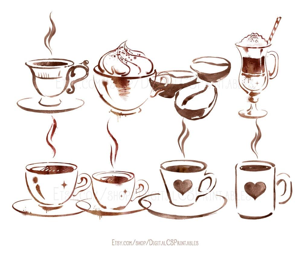 Watercolor coffee clipart Coffee clip art watercolor clipart