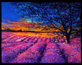 Beautiful Lavender in Provence-Original Oil Painting on Canvas 26 x 20 Landscape Painting Original Art Impressionism by Ivailo Nikolov