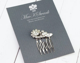 Vintage Rhinestone Hair Comb - Crystal Mini Hair Comb - Xmas Gifts for Her - Gift Under 20 - Unique Gift for Her - Simple Wedding Hair Comb