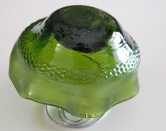 Mushroom Yard Art or Tealight Candle holder Green Upcycled wine bottle