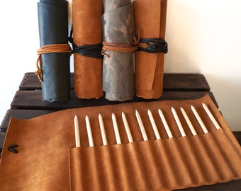 LEATHER PENCIL ROLL // includes set of 12 wooden pencils // Natural Leather // Wrap Closure