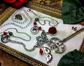 Phantom of the Opera Blood Red Rose Mask Skeleton Key Pendant Necklace Crystal Antiqued Silver Titanic Temptations Vintage Victorian Jewelry
