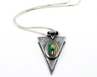 Art Deco Jewelry   Abalone Shell Pendant   Silver Triangle Necklace