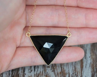 Black Onyx Necklace, Gold Filled Necklace, Triangle Necklace, Dainty Necklace, Black Gemstone Necklace, Birthday Gift