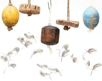 Vintage Buoy Silver Spoon Fish Wind Chime , Wood Cork Float , Crab pot , maritime Decor , nautical man cave , Old Fishing Float , Beach Comb