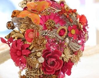 Modern Brooch Bouquet   Custom Medium Domed Brooch and Jewelry Bouquet - Bright Colors Spring Wedding Summer Bride Enamel Flowers Butterfly