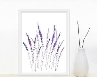 Lavender Watercolor Print - Lavender Field, Purple Flowers, Floral Print / Modern Wall Decor, 8x11 Print