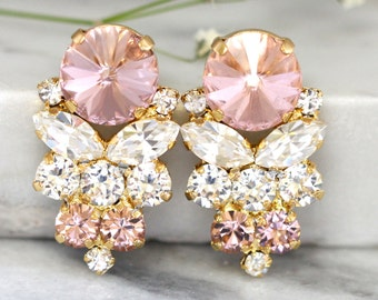 Blush Earrings, Bridal Blush Earrings, Swarovski Cluster Bridal Earrings,Champagne Blush Crystal Earrings, Blush Studs Earrings,Blush Studs