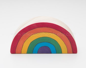 Wooden Rainbow Hand painted - Nursery decoration bright colours