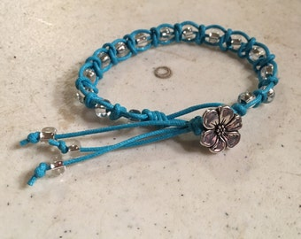 Turquoise Bracelet - Macrame Jewelry - Silver Lined Clear Beads - Cord - Fashion - Trendy - Beaded - Silver Flower Button
