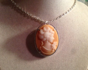 Cameo Necklace - Cameo Jewelry - Peach & White - Silver Jewelry - Pendant Jewellery -  Chain