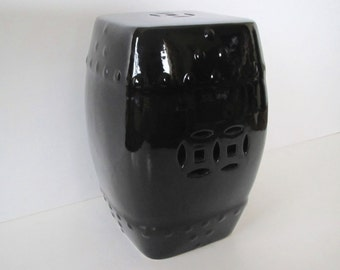 Vintage ceramic garden stool/ gloss black/ modern Asian