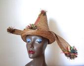 1950s Straw Hat - vintage resort accessory from Nassau