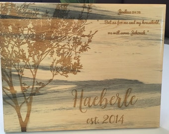 Wood Plaque Engraved 12x15 inch with Name Quote Established Year