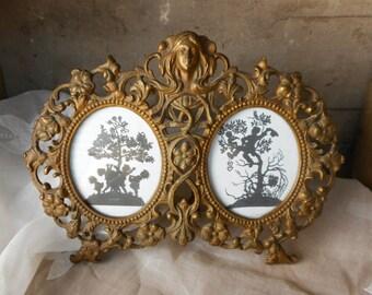 Antique Art Nouveau Picture Frame Double Two Sides Gold Tone Metal Romantic Home Decor Wedding Gift