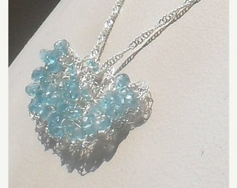 DISCOUNTED STERLING Crocheted Wire Necklace--- Faceted NATURAL Aquamarine Gemstone Beads -Ooak -HandMade