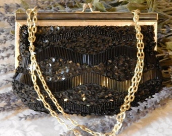 DISCOUNTED Pristine Vintage~FINE ARTS~Black Glass Beaded Evening Bag~Pearl Lucite~Gold Chain