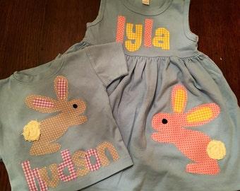 Easter Dress and Shirt Set, Easter Brother Sister Set, Matching Sibling Easter Set, Easter Outfits, Bunny Dress, Bunny Shirt