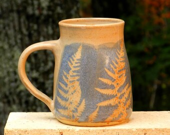 Blue Fern Mug, 22oz. Collectable Handmade stoneware, Microwave friendly