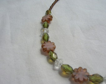 Czech bead pink flower and leaf necklace