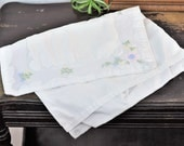 Antique Embroidered Baby Pillow Case Cover Vintage Hand Made Layette Linens Delicate Pink & Blue Floral